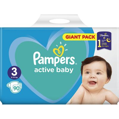 Pampers Active Baby Dry No 3 (6-10kg) Giant Box Πάνες 90τμχ