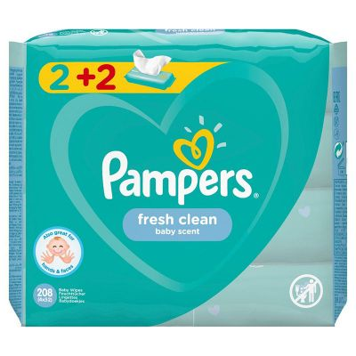 Pampers Baby Wipes Fresh Clean Baby Scent Μωρομάντηλα 2+2 Δώρο 4 x 52 τμχ
