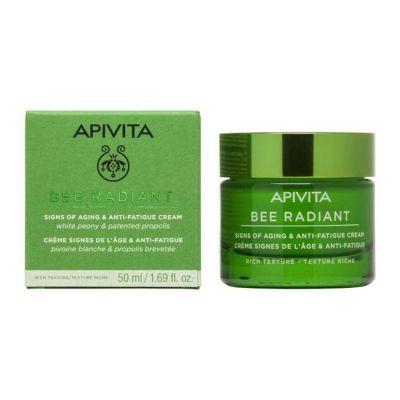 Apivita Bee Radiant Signs of Aging & Anti-Fatigue Cream Rich Texture White Peony & Patented Propolis 50 ml