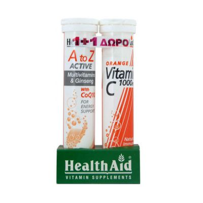 Health Aid A to Z Active Multi CoQ10 & Vitamin C Orange 1000mg 2 x20 effervescent tabs