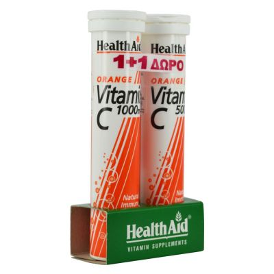 Health Aid Vitamin C Orannge 1000mg + Vitamin C Orannge 1000mg 2 Χ 20 Αναβράζοντα Δισκία