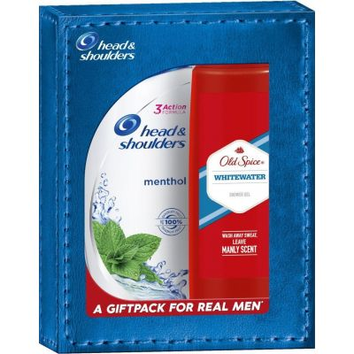 Old Spice A Giftpack For Real Men Head & Shoulders Anti-Dandruff Cool Menthol Shampoo Σαμπουάν 360ml & Old Spice Whitewater Shower Gel Αφρόλουτρο 250ml