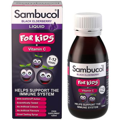 Olvos Sambucol Black Elderberry For Kids + Vitamin C, 120ml