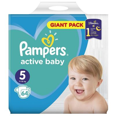 Pampers Active Baby Dry Giant Pack No 5 (11-16kg) Πάνες 64 τμχ