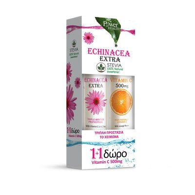 Power Health Echinacea Extra με Στέβια 24 αναβράζοντα δισκία & Vitamin C 500mg Πορτοκάλι 20 αναβράζοντα δισκία