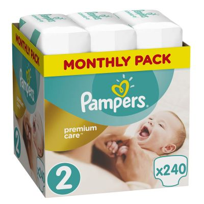 Pampers Premium Care No 2 (4-8kg) Monthly Box 240τμχ (τιμή ανά πάνα 0,14€)