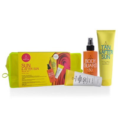 Youth Lab. Sun & After Sun Value Set Body Guard Sunscreen Spray SPF30 200 ml & Daily Sunscreen Cream For All Skin Types SPF50 50 ml & Tan After Sun Soothing & Tan Prolonging 150 ml